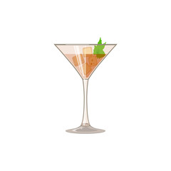 Glass with iced drink and mint. Martini, wine, whiskey or iced tea, icon. Abstract concept. Flat design. Vector illustration on white background.