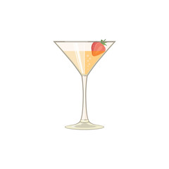 Glass with iced beverage. Juice, wine or cocktail with strawberry, icon. Abstract concept. Flat design. Vector illustration on white background.