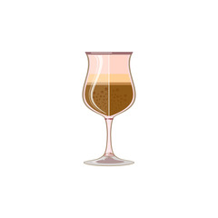 Glass of cappuccino, latte or smoothie. Icon, abstract concept. Flat design. Vector illustration on white background.