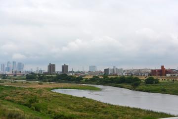 View of Tamagawa river (Kanagawa, Japan)