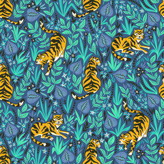 Vector seamless pattern with tigers in the jungle. Tropical background for fabric or wallpaper boho design.