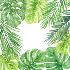 Watercolor palm leaves pattern, hand drawn colorful tropical botanical background illustration on white background.