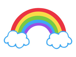 Colorful rainbow icon, vector illustration doodle drawing. Cartoon rainbow with two clouds.