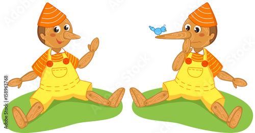 Pinocchio the liar puppet, italian fairy tale, vector