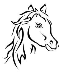 Black horse silhouette vector eps 10
