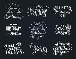 Vector Happy Birthday hand lettering collection, Big Party, Best Wishes etc. Calligraphy set for greeting cards etc.