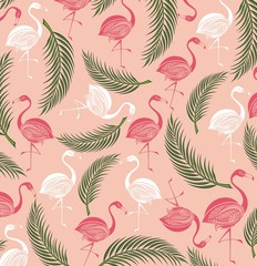 Summer background with birds.Flamingo