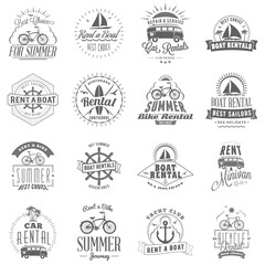 Set of summer rental emblem design. Typographic retro style summer advertising badges for rental agencies banner or poster. Bycicle, car, surfboard, boat rentals. Isolated on white