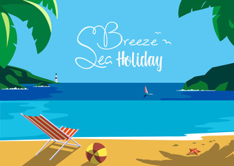 Summer time seaside landscape. Blue sea scenic view poster. Hand drawn cartoon retro style. Custom fancy letters. Season vacation leisure banner. Outdoors vector Illustration of recreation on seashore
