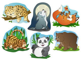 Cute cartoon animals vector set