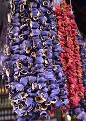 Dried peppers and aubergines in a famous local bazaar in Gaziantep, Turkey.