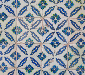 Beautiful decoration inside Topkapi palace. Ancient hand made Turkish - Ottoman tiles. Istambul, Turkey