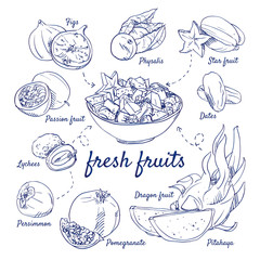 Doodle set of fresh fruits - Figs, Physalis, Starfruit, Passion fruit, Dates, Lychees, Persimmon, Pomegranate, Dragon fruit, bowl, hand-drawn. Vector sketch illustration isolated over white background