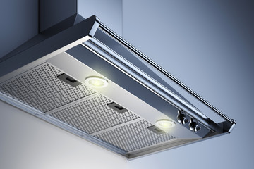 Kitchen hood in the interior with spotlights