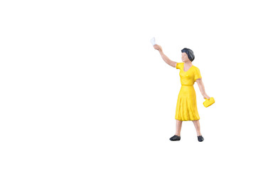 Close up of Miniature people isolated with clipping path on white background.Elegant Design with copy space for placement your text, mock up for business and travel concept.