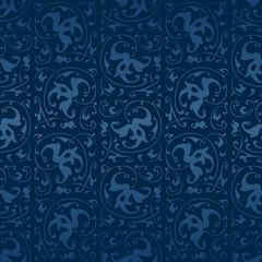 Blauer endlos kachelbarer Vintage Vektor Hintergrund
