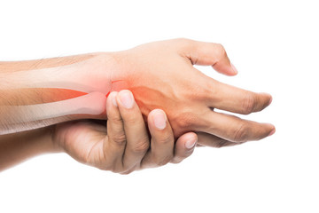 People suffering from arm pain, De Quervain Tenosynovitis, Men with bones and wrist problem concept