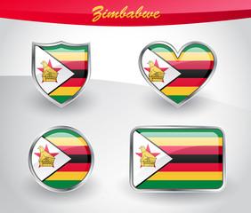 Fototapeta Glossy Zimbabwe flag icon set obraz