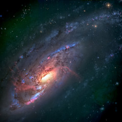 NGC 4258 is a spiral galaxy in the constellation Canes Venatici. Elements of this Image Furnished by NASA