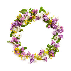 Frame from a variety of wild flowers in the shape of a circle on a white background..