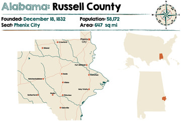 Large and detailed map of Russell County in Alabama.