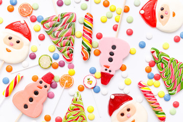 lollipops, candy, top view flat lay on white background