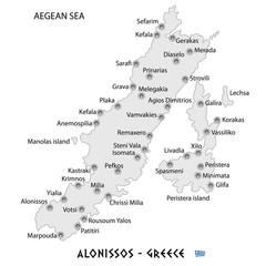 island of alonissos in greece white map illustration