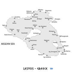 island of lesvos in greece white map illustration