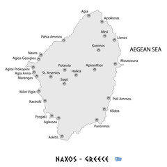 island of naxos in greece white map illustration