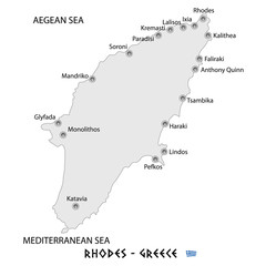 island of rhodes in greece white map illustration