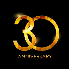 Template 30 Years Anniversary Congratulations Vector Illustratio
