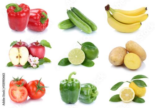 Obst und Gemüse Früchte Apfel Tomaten Bananen Paprika Farben frische ...