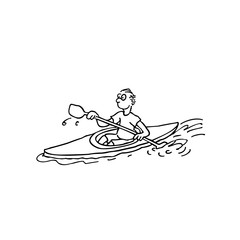 Rowing Athletes. outlined cartoon handrawn sketch illustration vector.