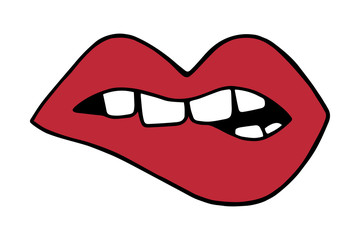 Red lips biting with teeth, mouth vector illustration doodle cartoon drawing.