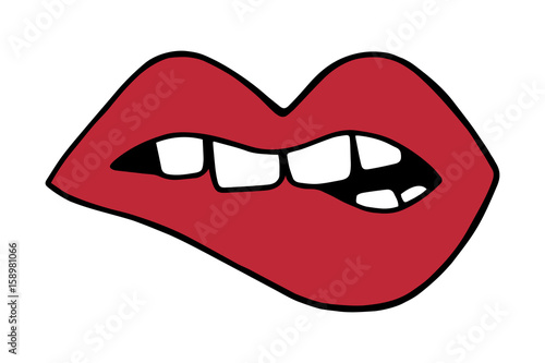 red lips biting with teeth mouth vector illustration doodle cartoon