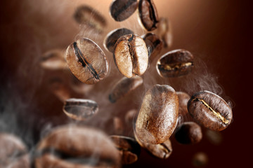 Fotobehang Cafe coffee grains macro photo