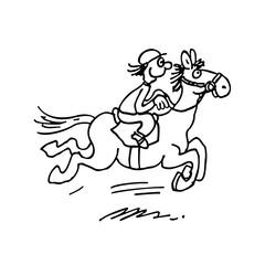 cartoon horse ride. outlined cartoon handrawn sketch illustration vector.