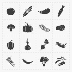 Vegetable Black Icon set on White