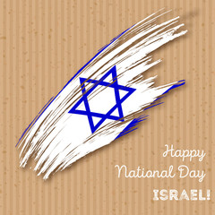 Israel Independence Day Patriotic Design. Expressive Brush Stroke in National Flag Colors on kraft paper background. Happy Independence Day Israel Vector Greeting Card.
