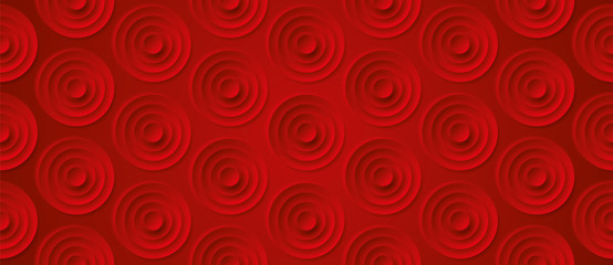 Volume realistic embossing circles texture, red background, 3d geometric seamless pattern, design vector wallpaper