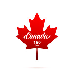 Canada 150th anniversary logo. Maple Leaf with typography. Canada 150 Years anniversary