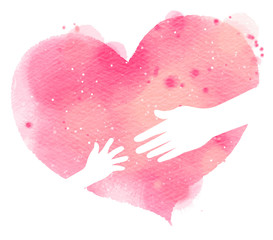 Silhouette of mother and baby's hands on pink heart, Watercolor style. Digital art painting
