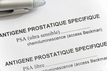 Obraz Feuille de r←sultats d'analyse de sang D←pistage du cancer de la prostate par mesure du taux sanguin d'antig│ne prostatique sp←cifique (PSA) L'antig│ne prostatique sp←cifique (PSA) est une prot←ine synth←tis←e sp←cifiquement par la prostate qui permet de liqu←fier le sperme Dans le sang, le PSA est retrouv← sous forme libre (5 %) et li← ¢ des prot←ines s←riques : l'alpha1-antichymotrypsine (80 %) et l'alpha2-macroglobuline (15 %) Son taux dans le sang est augment← en cas de cancer de la prostate, mais ←galement de prostatite aigu→ ou chronique ou d'hypertrophie b←nigne de la prostate Par contre, la diminution du taux de PSA libre par rapport ¢ celui du PSA conjugu← indique un risque ←lev← de cancer de la prostate Des tests permettent de doser le PSA total et le PSA libre dans un ←chantillon sanguin - fototapety do salonu