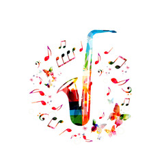 Music instrument background. Colorful saxophone with music notes isolated vector illustration