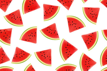 Seamless background with watermelon slices. Vector illustration. design for greeting card and invitation of seasonal summer holiday