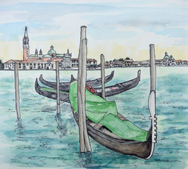 Ink And Watercolor Painting  of the Church of  San Giorgio Maggoiore with Gondolas in the foreground.