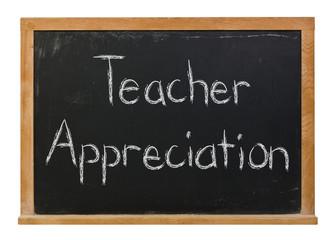 Teacher Appreciation written in white chalk on a black chalkboard isolated on white