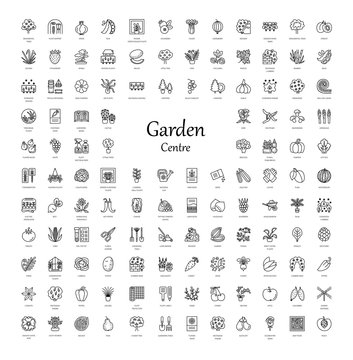 Garden centre elements. Vector line icon collection. Indoor and outdoor plants. Agriculture items.