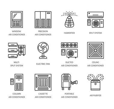 Ventilators & Air conditioners. Climate equipment for summer. Line icon set. Vector illustration.