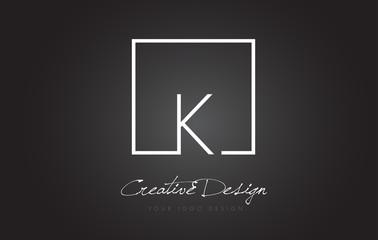 K Square Frame Letter Logo Design with Black and White Colors.
